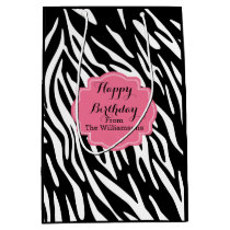 Happy Birthday Zebra Print Gift Bag