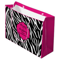 Happy Birthday Zebra Print Hot Pink Gift Bag