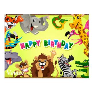 Happy birthday zoo animals postcard