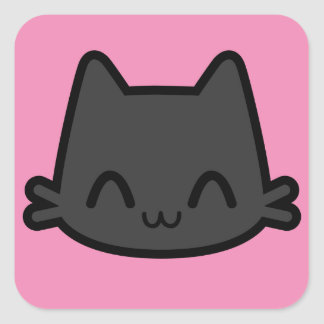 Happy Black Cat Face on Pink Square Sticker