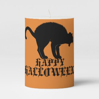 Happy Black Cat Halloween Candle