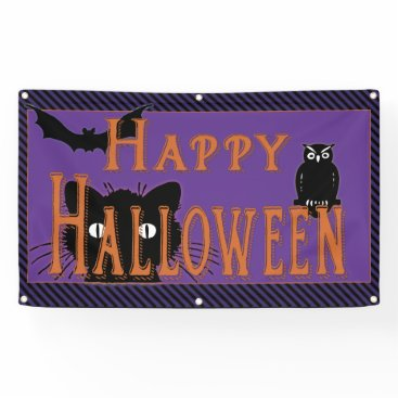 Professional Business Happy Black Cat, Owl and Bat Halloween Banner