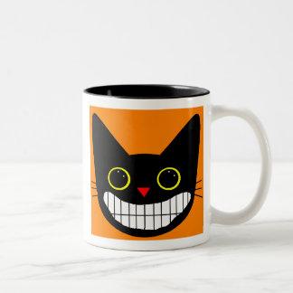 Happy Black Cat Two-Tone Coffee Mug