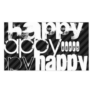 Happy; Black & Dark Gray Stripes Business Card