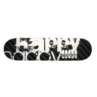 Happy; Black & Dark Gray Stripes Skateboard
