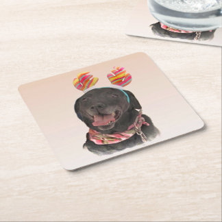 Happy Black Labrador Retriever Dog Paper Coasters