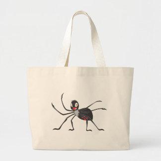 Happy Black Widow Spider Canvas Bags