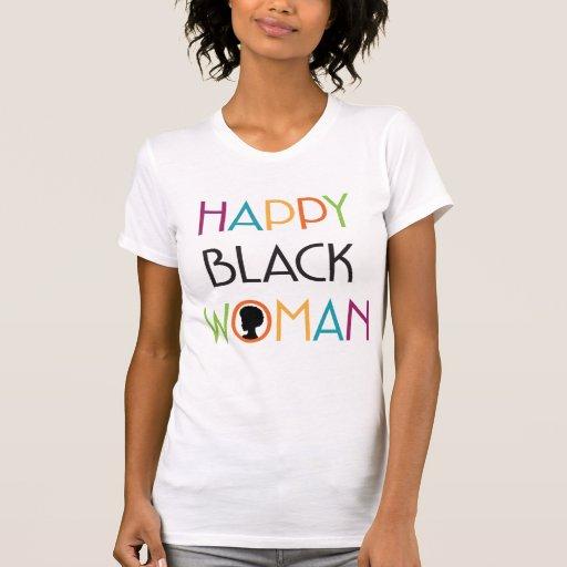 Happy Black Woman White Tee