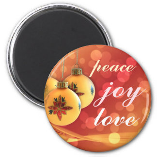 Happy Blessings of Peace Joy Love Gold Red 2 Inch Round Magnet