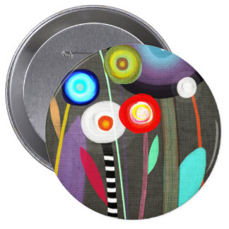 Happy Blooming Flora Brooch Pinback Button