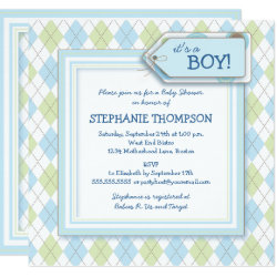 Happy Blue Argyle Boy Baby Shower Invitation