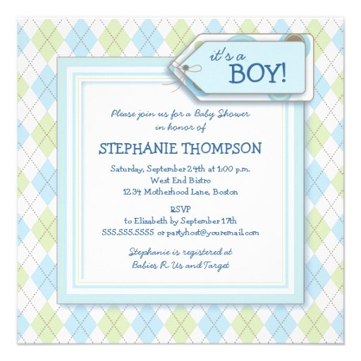 Happy Blue Argyle Boy Baby Shower Invitation