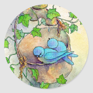 HAPPY BLUE BIRDS by SHARON SHARPE Classic Round Sticker