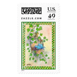 HAPPY BLUE BIRDS by SHARON SHARPE Stamp