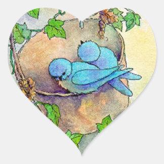 HAPPY BLUE BIRDS HEART by SHARON SHARPEHEART Heart Sticker
