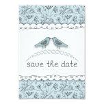 Happy Blue Birds Save the Date Custom Photo 3.5x5 Paper Invitation Card