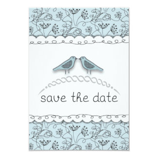Happy Blue Birds Save the Date Custom Photo 3.5x5 Paper Invitation Card