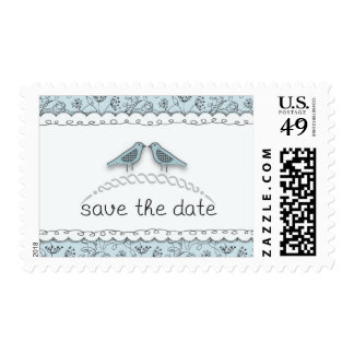 Happy Blue Birds Save the Date Doodle Trendy Postage Stamps
