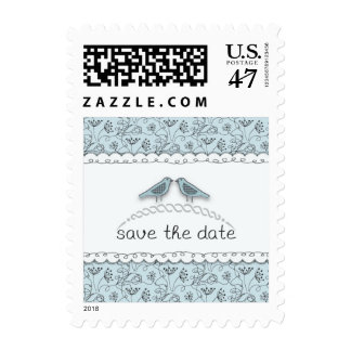 Happy Blue Birds Save the Date Doodle Trendy Stamp