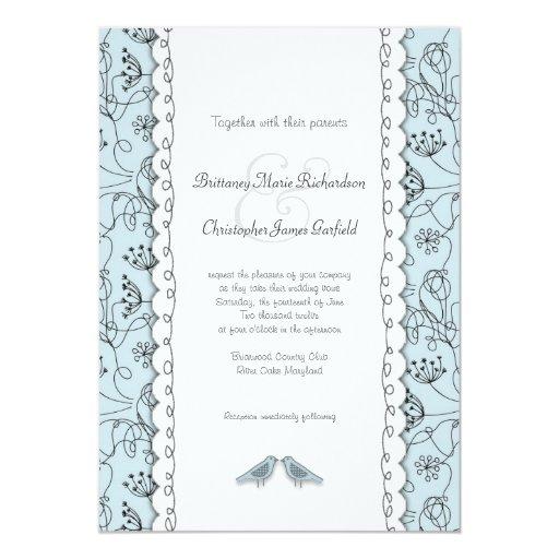 Happy Blue Birds Wedding Doodle Trendy Budget 5x7 Paper Invitation Card