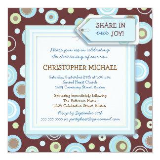 "Happy Blue Dots Baby Boy Christening Invitation 5.25"" Square Invitation Card"