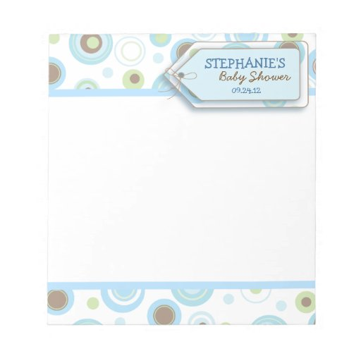 Happy Blue Dots Baby Boy Notepad Shower Favor Zazzle