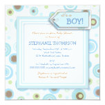 happy blue dots twin boy couples baby shower square paper