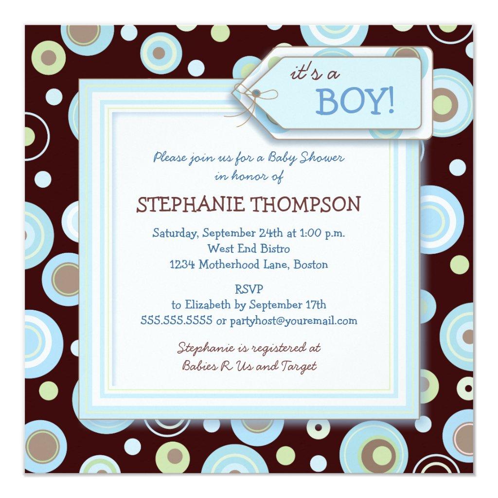 Happy Blue Dots Boy Baby Shower Invitation