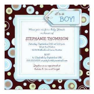 "Happy Blue Dots Boy Baby Shower Invitation 5.25"" Square Invitation Card"