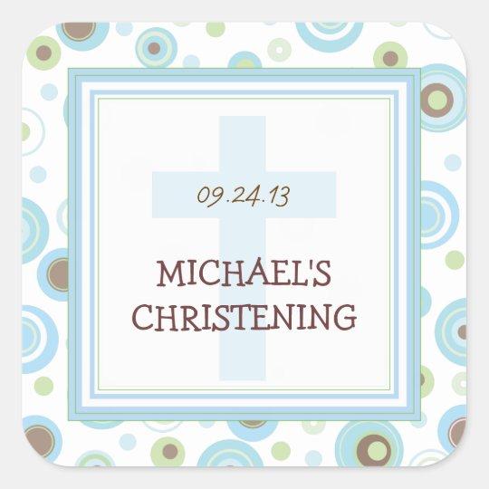 Happy Blue Dots Cross Christening Baptism Sticker