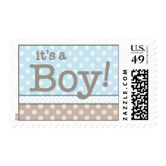 Happy Blue Dots It's a Boy Baby Postage Stamp