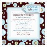 Happy Blue Dots Twin Boy Baby Shower Invitation