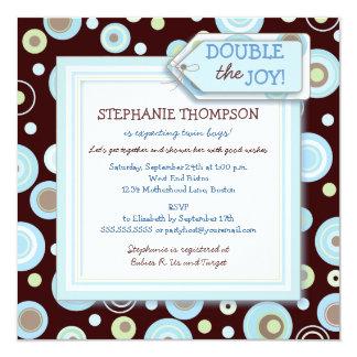 "Happy Blue Dots Twin Boy Baby Shower Invitation 5.25"" Square Invitation Card"