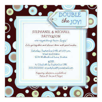 Happy Blue Dots Twin Boy Couples Baby Shower Card