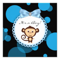 Happy Blue Monkey Baby Shower Card