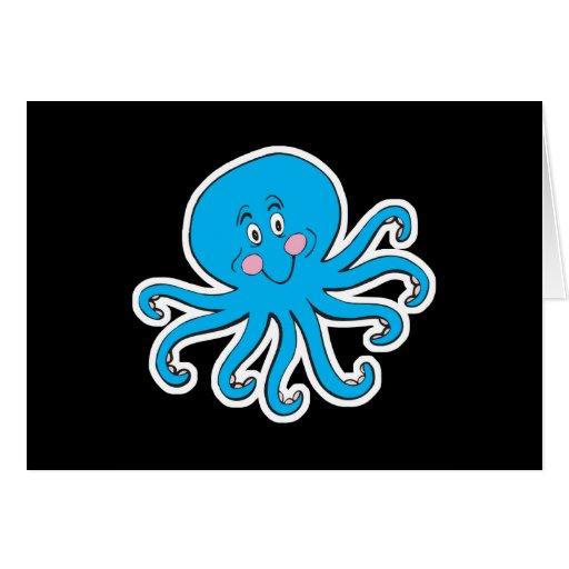 happy blue octopus card