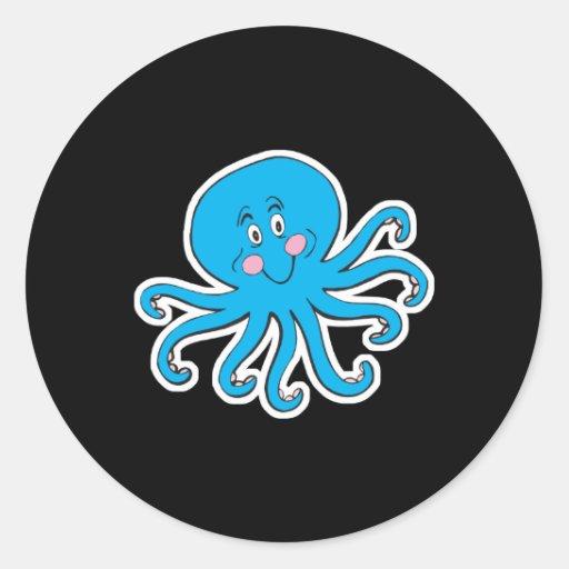 happy blue octopus classic round sticker