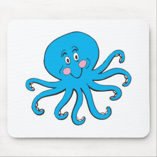 happy blue octopus mouse pad