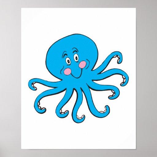 happy blue octopus print