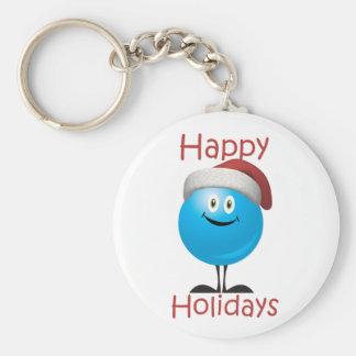 Happy blue ornament wishing a merry christmas keychain