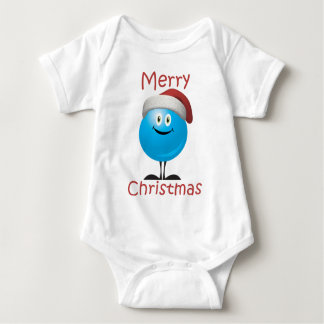 Happy blue ornament wishing you a merry christmas baby bodysuit