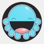 Happy Blue Otopus Classic Round Sticker
