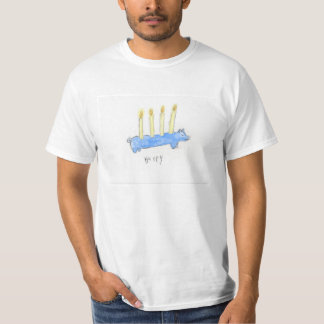 Happy Blue Pig With Candles T-Shirt