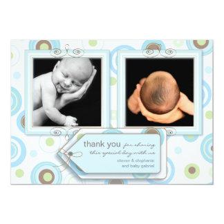 Happy Blue Polka Dot Thank You Photo Card