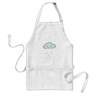 Happy Blue Rain Cloud Raining Pink Hearts Adult Apron