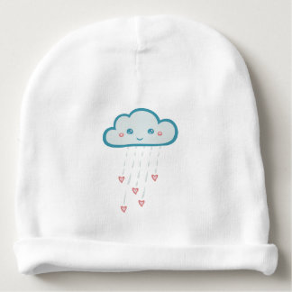 Happy Blue Rain Cloud Raining Pink Hearts Baby Beanie