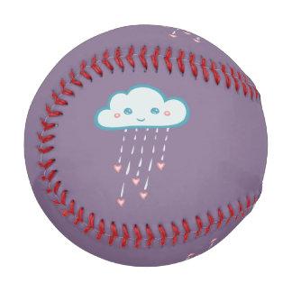 Happy Blue Rain Cloud Raining Pink Hearts Baseball