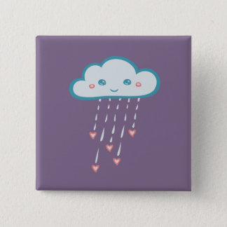 Happy Blue Rain Cloud Raining Pink Hearts Button