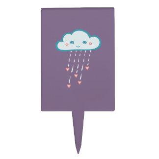 Happy Blue Rain Cloud Raining Pink Hearts Cake Topper