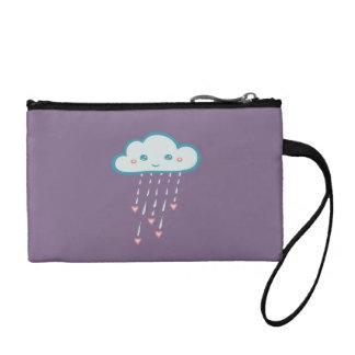 Happy Blue Rain Cloud Raining Pink Hearts Coin Purse